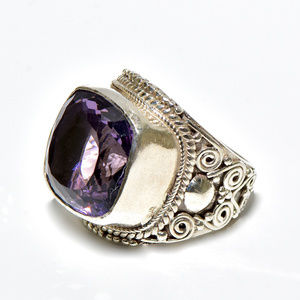 925 Silver Amethyst Large Cocktail Ring